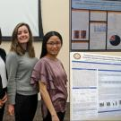 Collage of three photos. Left: Sierra Durham, Zhe Wei, Amanda Sinrod, and Yu-Ping Huang pose after receiving their awards; Upper right: Amanda Sinrod with her poster; Lower right: Yu-Ping Huang with her poster